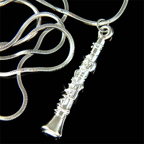 Swarovski Crystal Woodwind Clarinet Musical Instrument Necklace