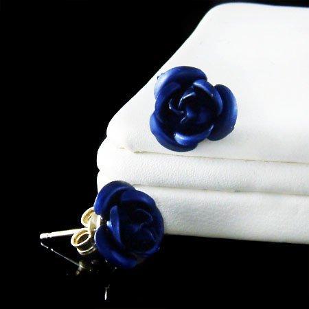 Bridal Wedding Dark Navy Blue Rose Flower Floral Stud Earrings