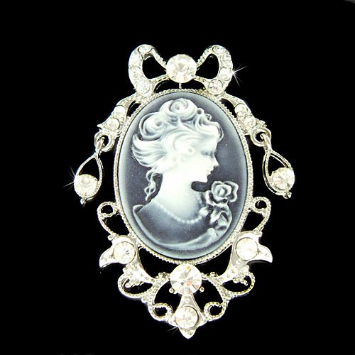Swarovski Crystal Victorian Antique Style Black Cameo Pin Brooch