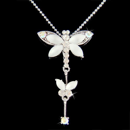 Swarovski Crystal White Dragonfly Butterfly Pendant Necklace