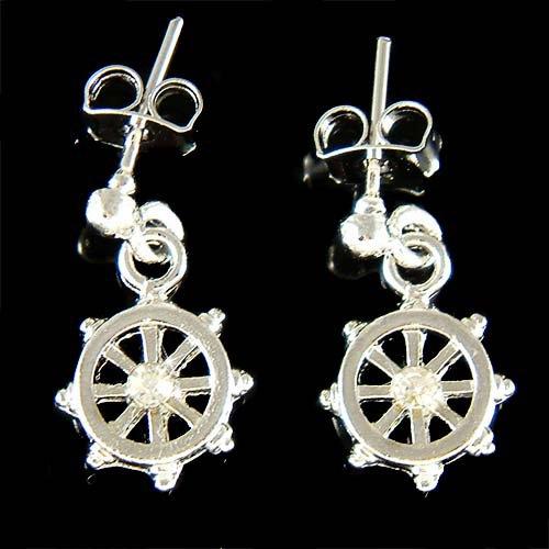 Captain of Ship Swarovski Crystal Wheel Nautical Stud Earrings
