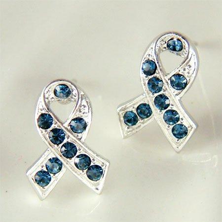 Blue Swarovski Crystal Colon Cancer Awareness Ribbon Earrings