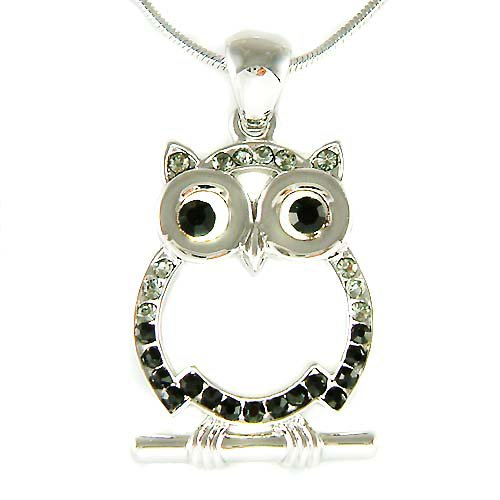 Black Swarovski Crystal Owl on the branch Pendant Chain Necklace