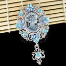 Big Blue Swarovski Crystal Victorian Cameo Pendant Necklace
