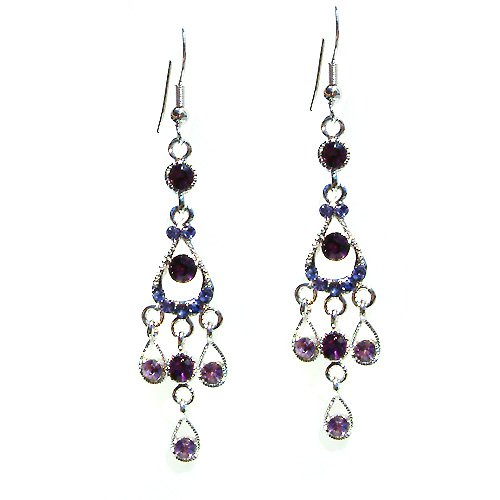 Swarovski Crystal Purple Chandelier Bridal Wedding Long Earrings