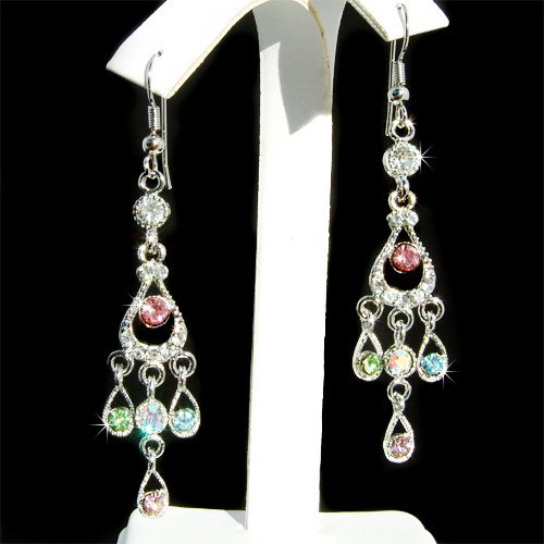 Swarovski Crystal Pastel Chandelier Bridal Wedding Long Earrings