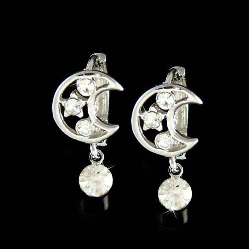 Swarovski Crystal Clear Crescent Moon Wish Star Huggie Earrings