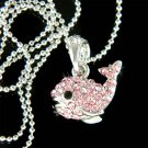Swarovski Crystal Cute Pink Whale Dolphin Charm Pendant Necklace