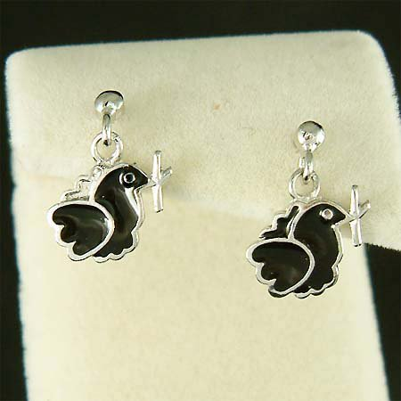 Happy Thanksgiving Black Enamel Turkey Bird Rhodium Earrings