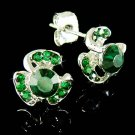 Swarovski Crystal Irish Lucky Shamrock 3 Leaf Clover Earrings