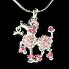 Swarovski Crystal Pink French Poodle Dog Bone Pendant Necklace