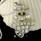Swarovski crystal Cute Little Pig Piggy Piglet Pendant Necklace