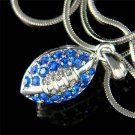 Swarovski Crystal Blue American Football Sports Pendant Necklace