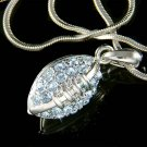 Swarovski Crystal Light Blue American Football Pendant Necklace
