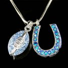 Swarovski Crystal Blue American Football and Horseshoe Necklace