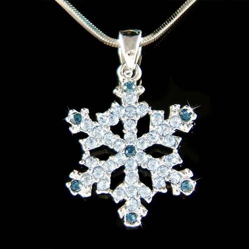 Blue Swarovski Crystal Snowflake Snow Christmas Pendant Necklace