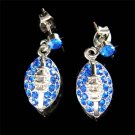 Swarovski Crystal Royal Blue American Football Gridiron Earrings