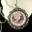 Swarovski Crystal Classy Purple Round Cameo Pendant Necklace