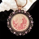 Swarovski Crystal Pink Round Cameo Rose Gold Pendant Necklace