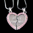 Swarovski Crystal Best Friend Engraved Heart 2 Chains Necklace