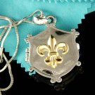 Silver Gold Fleur de Lis Iris Lily Flower Locket Chain Necklace