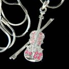 Swarovski Crystal Pink Violin Bow Fiddle Music Pendant Necklace