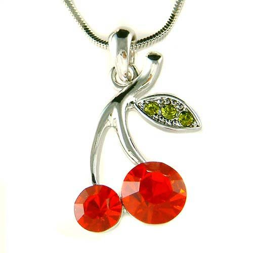 Sexy Hot Red Swarovski Crystal Juicy Cherry Pendant Necklace New