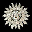 Swarovski Crystal Sunburst Sun Bridal Round Sash Bouquet Brooch