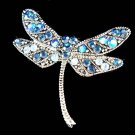 Swarovski Crystal Dark Blue Dragonfly Bridal Wedding Pin Brooch