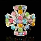 Swarovski Crystal Rainbow Christian Jesus Religious Cross Ring