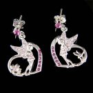 Swarovski Crystal Purple Tinkerbell in Love Heart Fairy Earrings