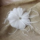 Big White Daisy Flower Floral Feather Bridal Hair Clip Brooch