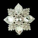 Swarovski Crystal Floral Cluster Bridal Starburst Pendant Brooch