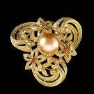 Swarovski Crystal Gold Celtic Flower Pearl Celts Bouquet Brooch
