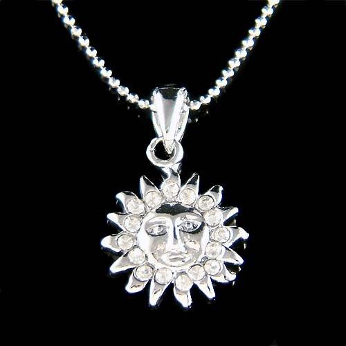 Dainty Swarovski Crystal Sun Energy Sunburst Pendant Necklace