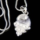 Swarovski Crystal Beach Wedding Ocean Seashell Pendant Necklace