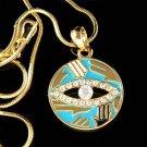 Swarovski Crystal Gold Circle Hamsa Hand Evil Eye Charm Necklace