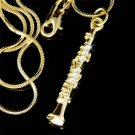 Swarovski Crystal GP Woodwind Clarinet Music Instrument Necklace