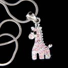 Swarovski Crystal Pink Giraffe Zoo Safari Girls Pendant Necklace