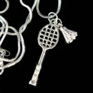 Swarovski Crystal Badminton Racket Ball Shuttlecocks Necklace