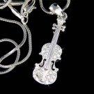 Swarovski Crystal Fiddle Violin Viola Musical Pendant Necklace