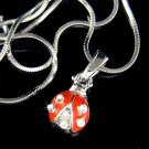 Swarovski Crystal Red Enamel Ladybug Bug Girls Jewelry Necklace