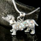 Swarovski Crystal 3D Cute Mini Dachshund Puppy Hot Dog Necklace