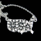 Swarovski Crystal America USA Map Souvenir Pendant Necklace New