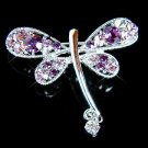 Elegant Amethyst Swarovski Crystal Purple Dragonfly Pin Brooch