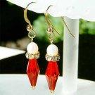 Freshwater Pearl Gold Vermeil Red Swarovski Crystal Earrings
