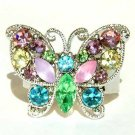 Rainbow Pastel Butterfly Swarovski Crystal Cocktail Ring