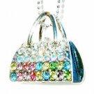 Rainbow Swarovski Crystal Handbag Purse Night Out Necklace