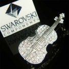 Swarovski Crystal Violin Viola Cello Fiddle Music Pin Brooch