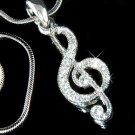 Treble G Clef Musical Note Swarovski Crystal Pendant Necklace